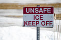 Unsafe Ice - Keep Off Sign Royalty Free Stock Photo