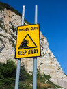 Unstable Cliffs Keep Away Sign Royalty Free Stock Photo