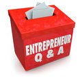 Unternehmer questions answers box informationen Stockbilder