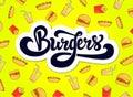 stock image of  Burgers logo design. Hand drawn logotype.