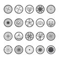 Flowers icons in a round shape. Single line style-vector.