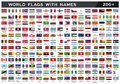 World Flag with counties names drawing by illustration
