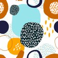 Abstract trendy seamless pattern with decorative, geometric shapes