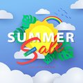 Summer Sale banner with sun in the clouds, rainbow in the blue sky and tropical leaves
