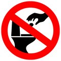 No littering in toilet vector sign Royalty Free Stock Photo