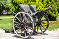 Unused old cannon with wheels an out of service served in world war i Royalty Free Stock Photos