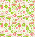 Unusial seamless floral pattern decorative doodle background with stylized flowers and leaves Stock Photos