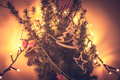 Unusual decorated Christmas tree in orange colors Royalty Free Stock Photo