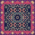 Unusual ornamental tablecloth or rug with abstract daisy - flower and pattern from leaves. Royalty Free Stock Photo