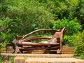 Unusual park bench wooden in garden Royalty Free Stock Photo