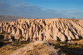 Unusual pink rocks near uchisar town unusually shaped in cappadocia a historical region in central anatolia in turkey Royalty Free Stock Photos
