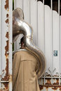 Unusual situation for a tuba player aurillac france august as part of the aurillac international street theater festival cie Royalty Free Stock Photo