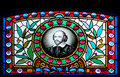 Unusual stained glass winery window Stock Images