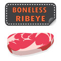 Unwrapped fresh boneless ribeye steak with fat and sticker banne banner vector Royalty Free Stock Photos