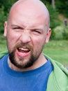 Uomo calvo arrabbiato Fotografia Stock Libera da Diritti