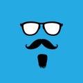 Uomo con i baffi di vecchio stile la barba il vettore degli occhiali da sole Fotografia Stock