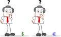 Uomo d affari with dollar del fumetto e euro Fotografia Stock