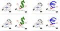 Uomo d affari with dollar euro Immagine Stock