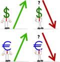 Uomo d affari with dollar euro Fotografia Stock Libera da Diritti
