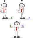Uomo d affari with dollar euro Fotografie Stock Libere da Diritti
