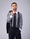 Uomo d affari rilassato holding his coat Immagine Stock Libera da Diritti