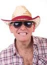 Uomo grazioso con il cappello di cowboy Fotografie Stock Libere da Diritti