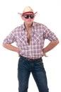 Uomo grazioso con il cappello di cowboy Immagini Stock Libere da Diritti