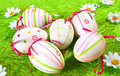 Uova di Pasqua Una priorità bassa Immagine Stock