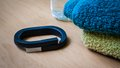 Up band london uk may photo of a black fitness by jawbone lying on a table photographed on th may Royalty Free Stock Photos