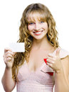 Upbeat beautiful woman with business card Stock Photography