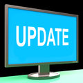 Update screen means updates modified or upgrade meaning Royalty Free Stock Images
