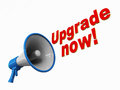 Upgrade now a megaphone with words coming out asking to white background red text Royalty Free Stock Photo
