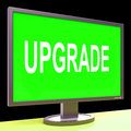 Upgrade screen means improve upgraded or update meaning Stock Photo