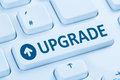 Upgrade upgrading software program blue computer keyboard Royalty Free Stock Photo