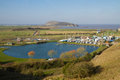 Uphill boat yard and Brean Down Somerset Royalty Free Stock Images
