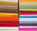 Upholstery samples colorful in the shop Royalty Free Stock Image