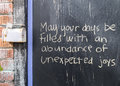Uplifting words message of hope left on a chalkboard Royalty Free Stock Photos