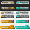 Upload and Download Button Set Stock Photo