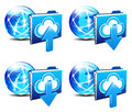 Upload download folder communication internet worl icons with world of america and europe Stock Photography