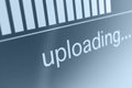 Uploading closeup of upload process bar on lcd screen Stock Image