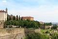 Upper city Citta Alta in Bergamo with Venetian Walls Royalty Free Stock Photo