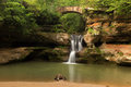 Upper Falls at Old Man's Cave, Hocking Hills State Park, Ohio. Royalty Free Stock Photo