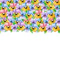 The upper floral border is a frame on top of multicolored violet pansies or heartsease flowers tightly lying on top of each other
