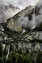 Upper lower yosemite falls winter Royalty Free Stock Photos