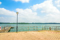 Upper seletar port view deck at water reservior at the area in singapore Royalty Free Stock Image