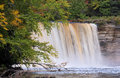 Upper tahquamenon falls the at state park in michigan s peninsula flows with tannin stained water Stock Image