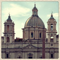 Upper view detail church sant agnese agone plaza navona rome italy shoot taken mobile camera effect Stock Photo