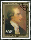 Upper volta shows johann wolfgang von goethe by georg oswald may circa a stamp printed in circa Royalty Free Stock Photo