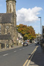 Uppermill main road on a sunny Autumn day Royalty Free Stock Photo
