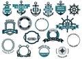 Uppsättning av nautiska eller marin themed symboler och ramar Royaltyfri Fotografi